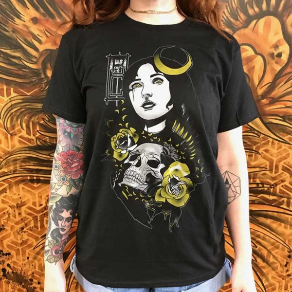 Black Cobra Tattoos Waxing Cresent T-shirt - Black